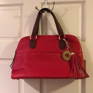 NWOT ISAAC MIZRAHI red Bridgehampton leather purse